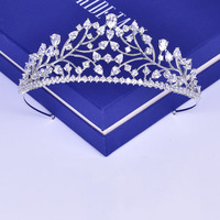 Pear Cut Zircon Stone Tiara Headband Bridal Hair Accessories Wedding Jewelry Clear AAA Cubic Zirconia Crown Headpiece Fashion