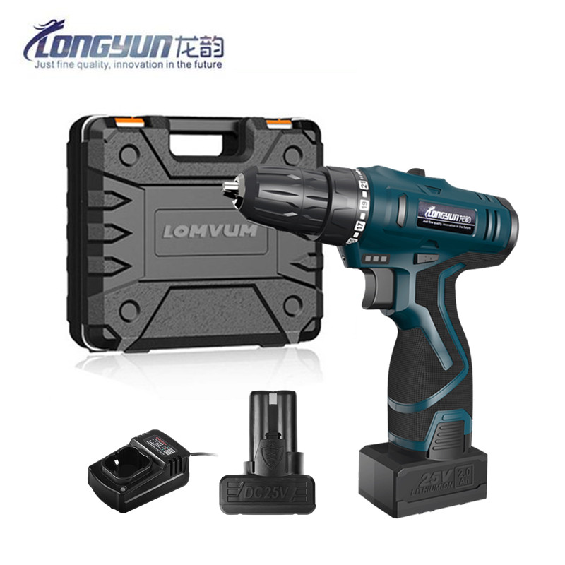 25V Multi-function Rechargeable Lithium Battery Electric Drill Home Cordless Electric Screwdriver With Plastic Case Carry Box