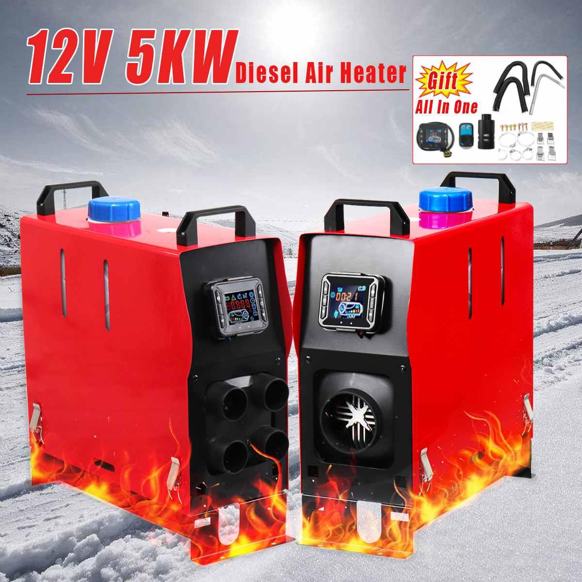 Con Monitor di Controllo Remoto 12 V 5KW All In 1 LCD 1/4 Fori Diesel-Riscaldatore Ad Aria PLANARE Per Auto camion Rimorchio A Basso Rumore Automatico