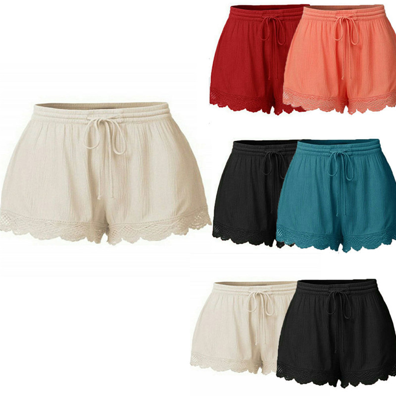 2019 Women Summer Sexy Lace Ruffled Frill   Shorts   High Waist Ladies Party Mini   Shorts   Beach Bow   Shorts   Trousers plus size L-5XL