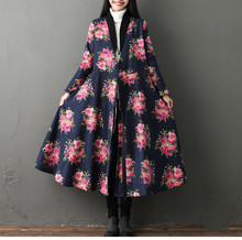 Winter Trench Coat For Women Long Sleeve Warm Velvet Lining Casual Casaco Feminino Autumn Vintage Floral Printed Outerwear