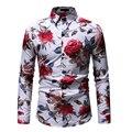 Хит продаж, размеры: M-3XL/2019, Новые Модные приталенные рубашки с цветочным принтом, мужские повседневные рубашки с длинным рукавом, 23 Цвета - фото