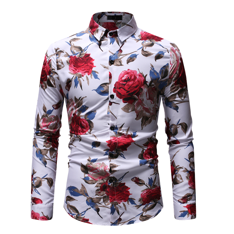 The Roses Hot Sale Size: M-3XL / 2019 New Fashion Floral Print Slim Fit Shirts Men's Long Sleeve Casual Dress Shirts 23 Colors