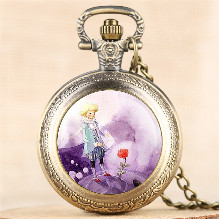 The Little Prince Theme Quartz Pocket Watch Top Gifts For Kids Exquisite Retro Necklace Pendant Clock For Boys Girls New Arrival
