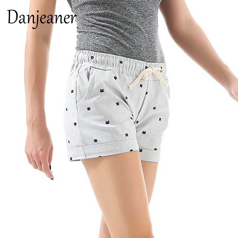 Danjeaner Summer Women's Home Casual Elastic Waist Cotton Shorts Printed Cat Pumping Self-Cultivation Shorts Candy Colors Shorts