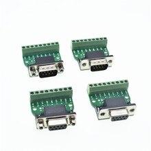 D-Sub 9pin Solderless Разъемы DB9 RS232 последовательный к терминалу Женский Мужской разъем адаптера коммутационная плата черный+ зеленый