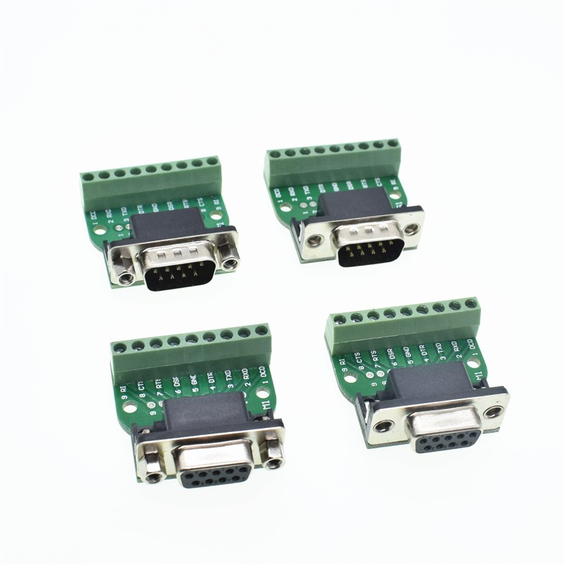D-Sub 9pin Solderless Connectors DB9 RS232 Serial To Terminal Female Male Adapter Connector Breakout Board Black+Green