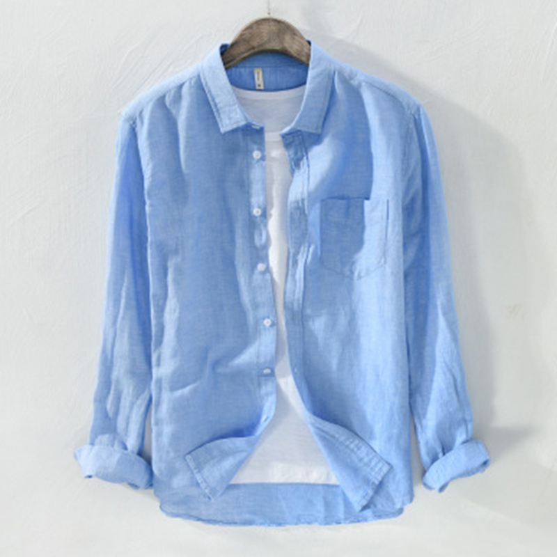 2019 <font><b>Vintage</b></font> <font><b>Men</b></font> <font><b>Shirt</b></font> Lapel Neck Cotton <font><b>Linen</b></font> Button Long Sleeve Casual Blouse Camisa Solid Brand Business <font><b>Shirts</b></font> <font><b>Men</b></font> Harajuku image