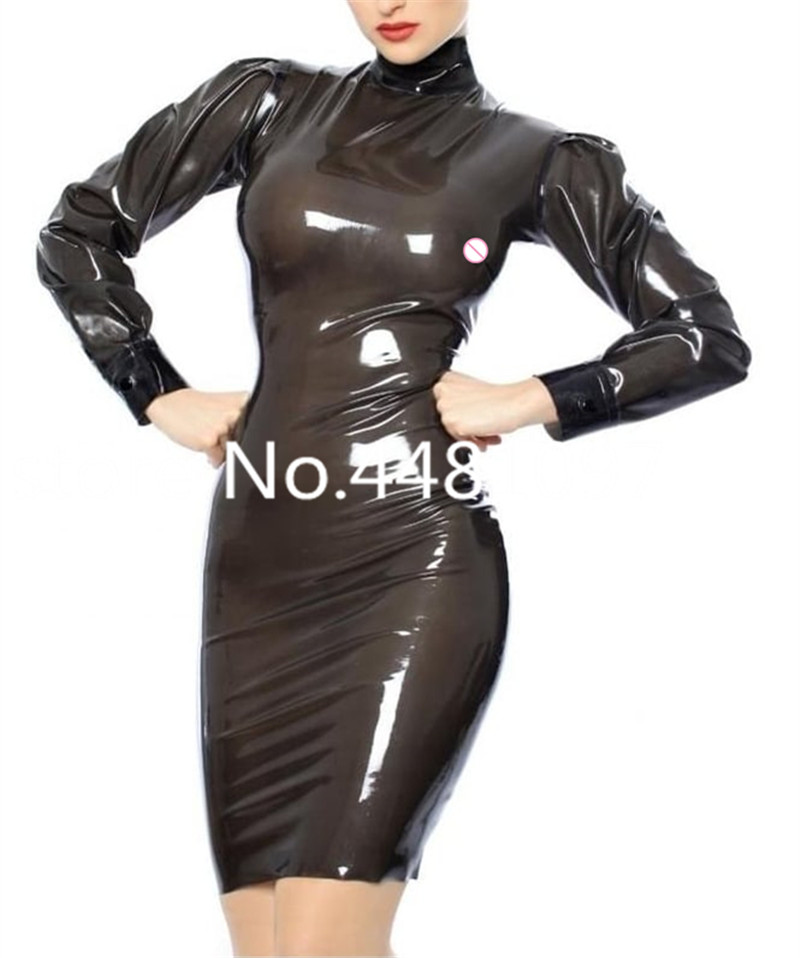 Fetish Women Latex Dress Sexy Latex Transparent Black Knee Length Skirts Back Zip lingerie porno sexy