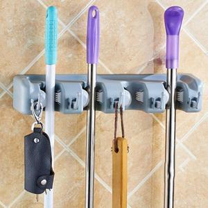 Image 3 - 5/4/3 Position Wall Mounted Mop Holder Brush Hanger Storage Plastic Brush Broom Hanger Storage Rack Kitchen Organizer