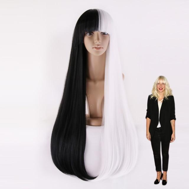 Sia Furler Long Straight Half Black Half White Wig-in Costume ... a43b4f3aad18