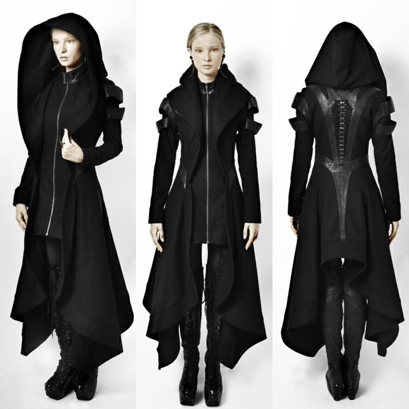 Black Irregular Hooded Coat women fall winter Punk rock Gothic Cosplay Steampunk medieval party long coats ladies Jacket tops