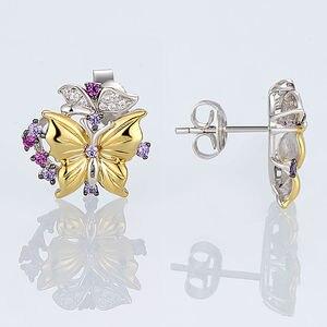 Image 5 - SANTUZZA Silber Schmuck Set Für Frau Reine 925 Sterling Silber Gelb Gold Farbe Schmetterling Ohrringe Anhänger Set Mode Schmuck