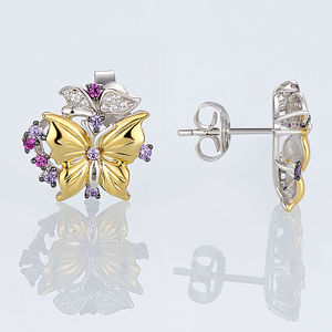 Image 5 - SANTUZZA Silver Jewelry Set For Woman Pure 925 Sterling Silver Yellow Gold Color Butterfly Earrings Pendant Set  Fashion Jewelry