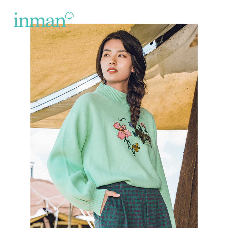 INMAN Autumn Winter New Arrival High Collar Literary Embroidery Loose Woman Pullover Sweater