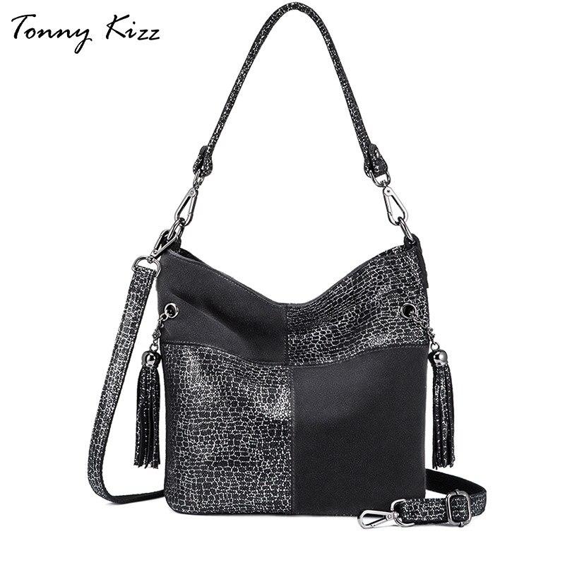 Tonny Kizz patchwork luxury handbags women shoulder bags designer genuine leather female tote ladies fashion crossbody