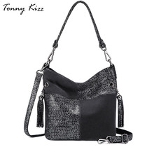 Tonny Kizz patchwork luxury handbags women shoulder bags designer genuine leather female tote ladies fashion crossbody
