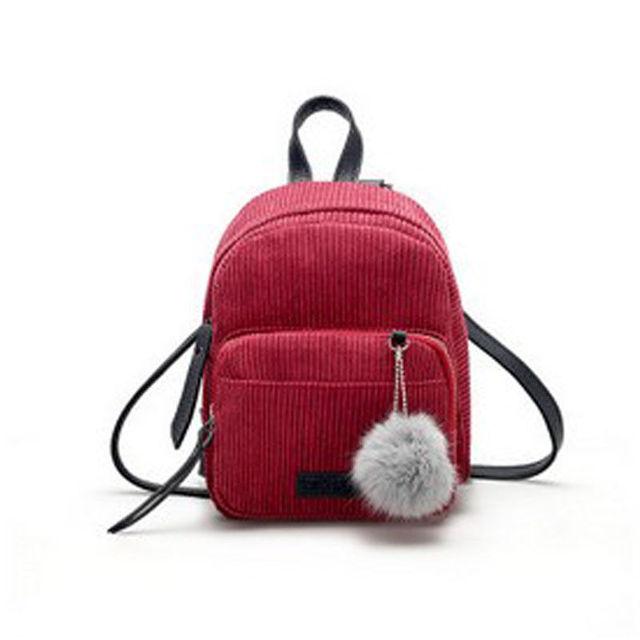 2018 New Style Fashion Women Solid Tassel Girl Small Mini Backpack Corduroy Rucksack  Daypack Cute Bag Travel 5cd9c5df287d3