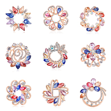 RINHOO Trendy Flower Natural Rhinestone Pendants Brooch Pins for Women Scarf Clips Jewelry Accessories Gifts 3792