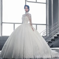 Eightale Arabic Muslim Wedding Dress 2019 High Neck Appliques Lace Ball Gown Wedding Gown Tulle Long Sleeve Bridal Dresses