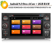 7 Quad Core Android 8.1 Autoradio DAB+ GPS WiFi 4G DVD OBD Car Multimedia Player for FORD FOCUS FIESTA TRANSIT S/C M Car stereo