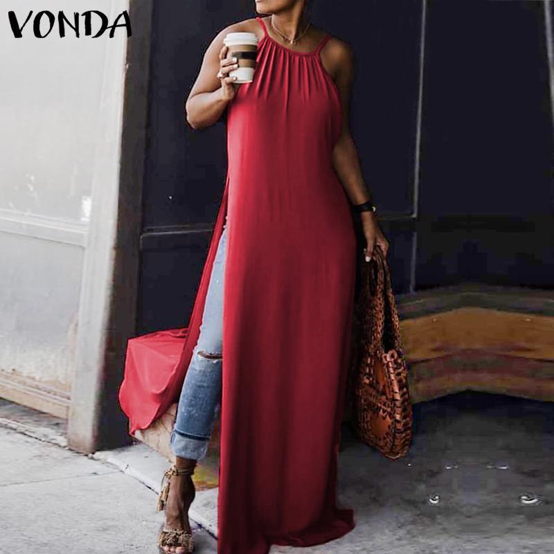 VONDA Women Summer Dress 2019 Sexy Sleeveless Strap High Split Long Maxi Club Party Dresses Female Casual Plus Size Vestidos