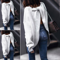 Sexy Women Ladies O Neck Backless Sweater Tops Autumn Knitted Cross Back Sweater Pullovers Top