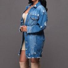 Women Hole Jackets Long Outwear Blue Denim Spring Coats Slim Fit Jeans Ripped Loose Ladies Hip Hop Punk Tops Button HOT