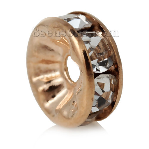 Copper Rondelle Spacer Beads Round Rose Gold Clear Rhinestone About 8mm( 3/<font><b>8</b></font>