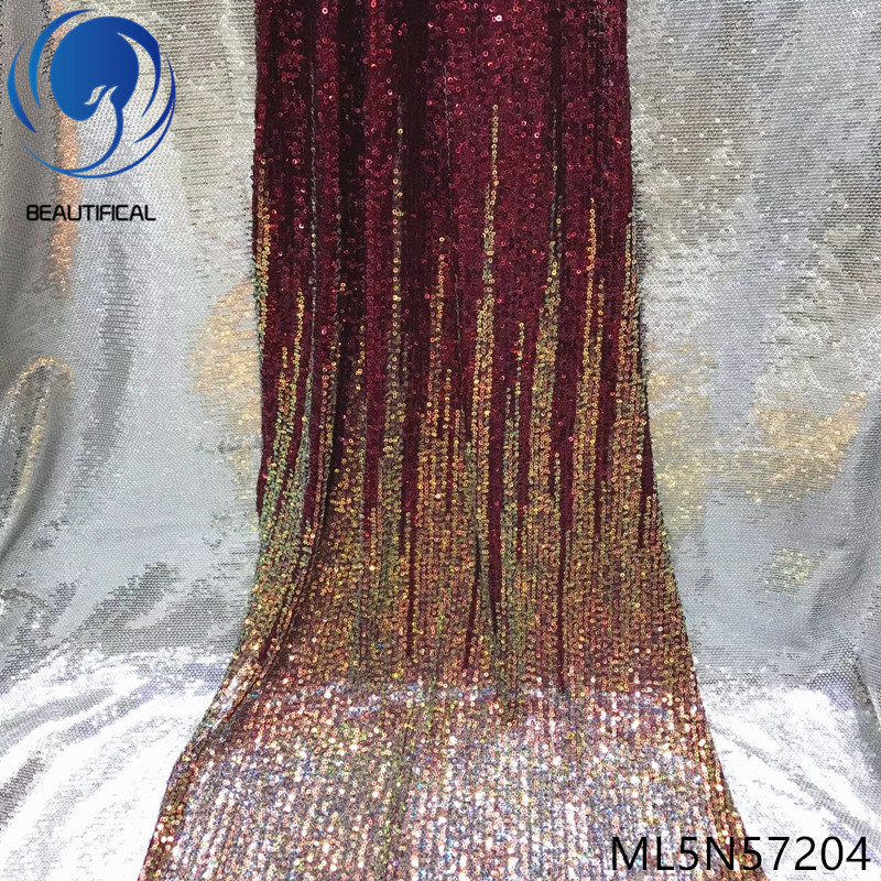 BEAUTIFICAL sequins lace fabric latest design 2019 french tulle fabric for dresses lace nigerian party lace 5 yards/lot ML5N572