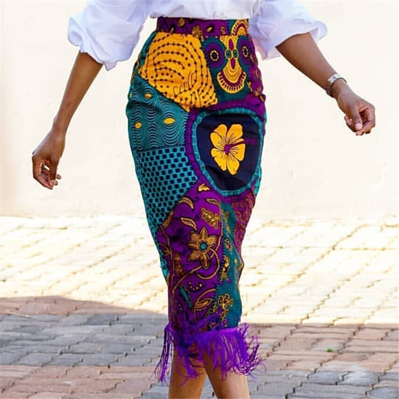 Women Summer Print Skirt Vintage Floral African Fashion High Waist Tassel Classy Modest Elegant Retro Jupes Falads Drop Shipping