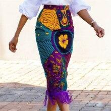 Women Summer Print Skirt Vintage Floral African Fashion High Waist Tassel Classy