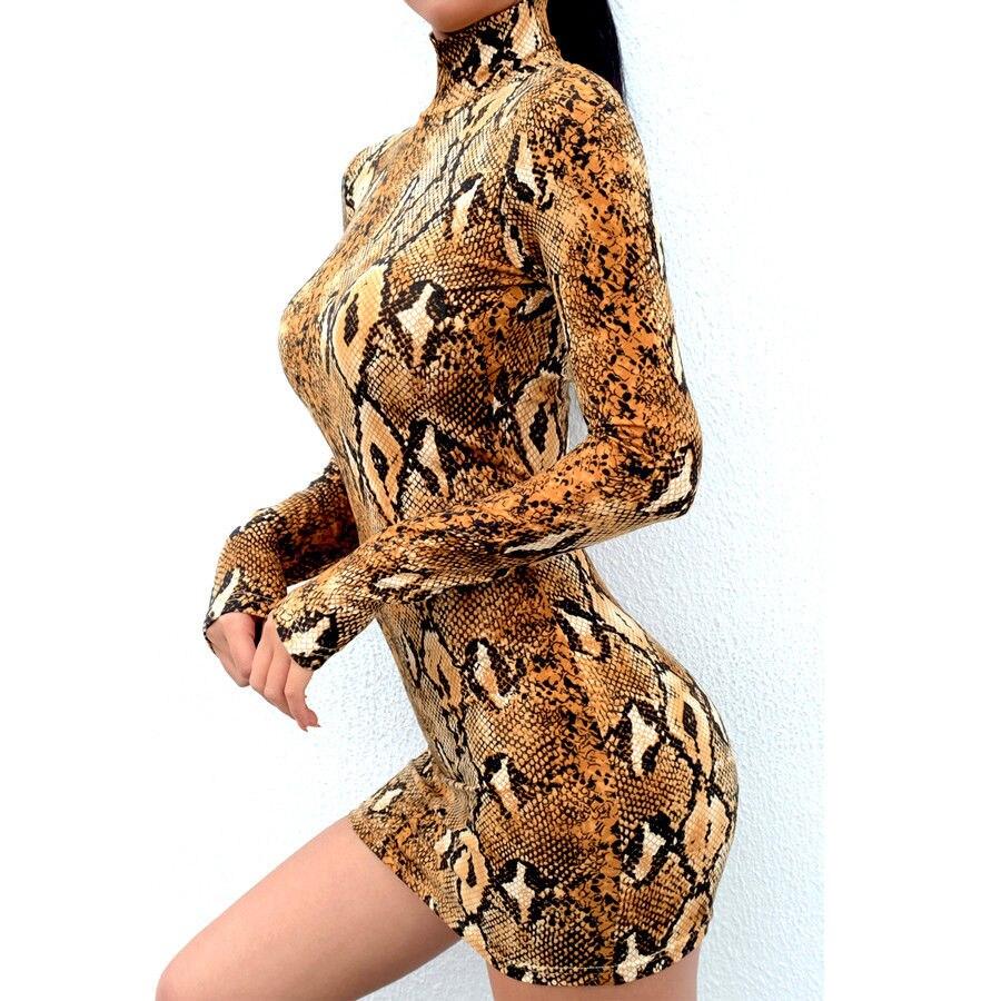 Snake Skin Print Turtleneck Short Sleeve Dress 2019 Autumn Women Sexy Bodycon Snakeskin High Neck Party Snake Skin Print Turtleneck Short Sleeve Dress 2019 Autumn Women Sexy Bodycon Snakeskin High Neck Party Mini Dresses