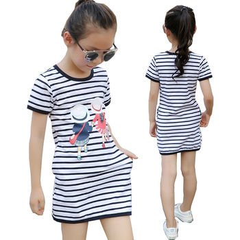 b801255b0 2019 vestido de niña de verano Casual a rayas ropa de niños para ...