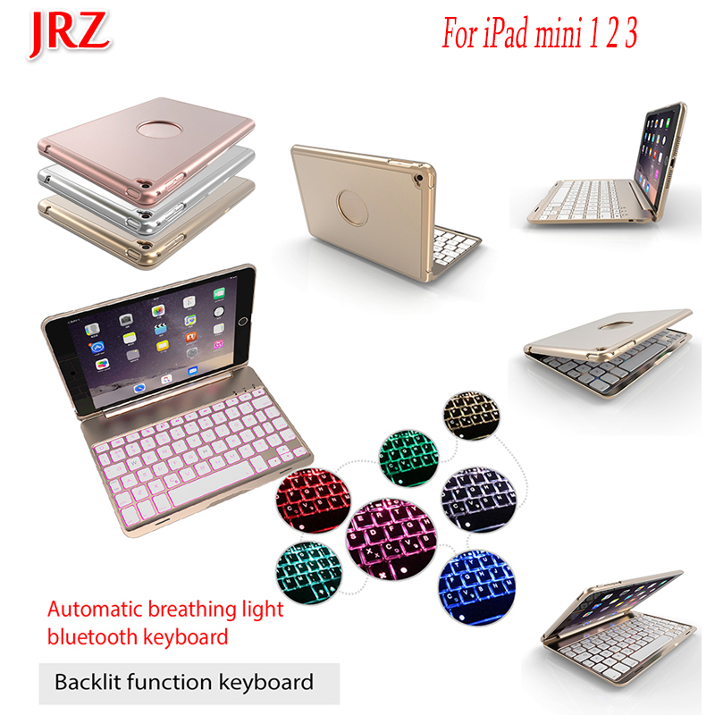 Tablet Case 7.9''For iPad mini 1 2 3 Detachable WiFi Bluetooth Keyboard aluminum alloy colorful Backlight Smart Sensor Cover