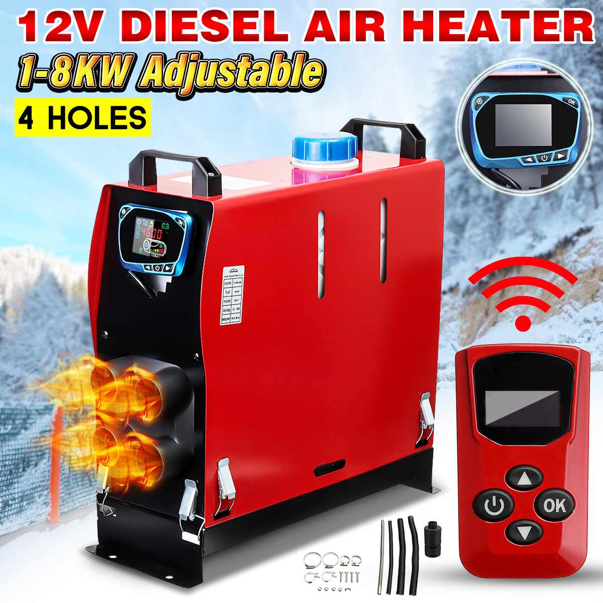 All In One Air diesels Heater 1KW-8KW Adjustable 12V 4 Holes Car Heater For Motor-Homes Boats Bus +LCD Switch+English RemoteAll In One Air diesels Heater 1KW-8KW Adjustable 12V 4 Holes Car Heater For Motor-Homes Boats Bus +LCD Switch+English Remote