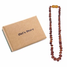 Raw Baltic Amber Teething Necklace for Baby (Unisex)(Cognac Raw)(13 Inches) - Natural Stone Diy Beads Necklace-Baby Gift Sets