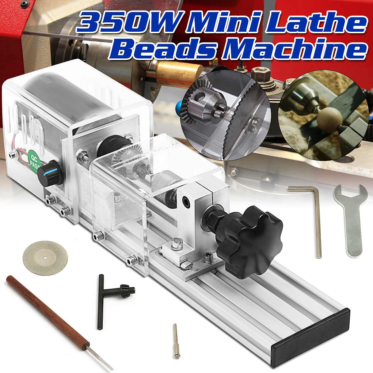 350W Precisions Mini Wood Lathe Machine DIY Woodworking Lathe Polishing Cutting Drill Rotary Tool Standard Set Benches Drill