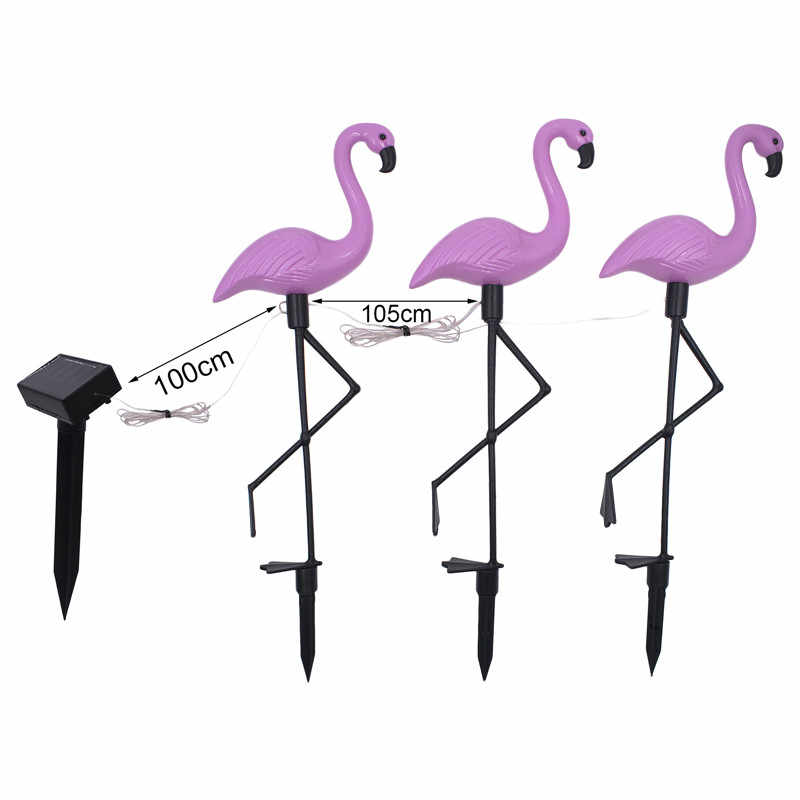 3Pcs Solar Flamingo Lawn Light Waterproof and Integrated Design LED Garden Path Landscape Lights Romantically Decoration Pink