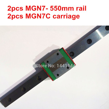 MGN7 Miniature linear rail: 2pcs MGN7 - 550mm rail+2pcs MGN7C carriage for X Y Z axies 3d printer parts
