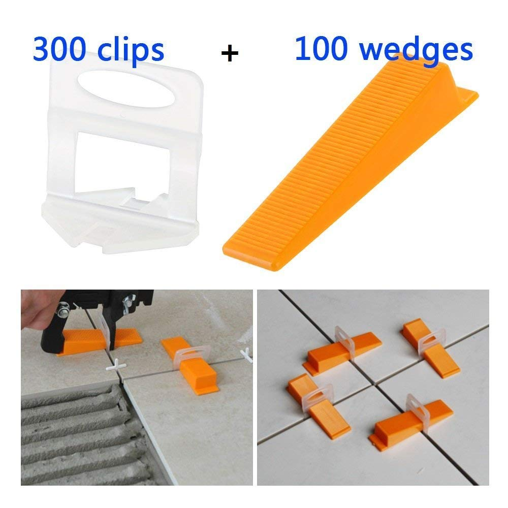 New Tile Positioning Leveler Leveler Plastic Clips Tile Auxiliary Tool Pressing Clamp Tile Tool 300 x Leveling Pad + 100 x Wedge|Construction Tool Parts| |  - title=