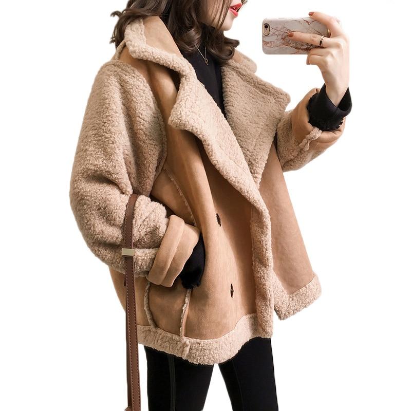 Suede Lamb Fur Coat 2019 women Fashion Faux Fur Leather Moto Jacket Ladies Loose Thick Winter Jacket Female Overcoat