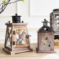Vintage Style Wood Candlestick Candle Holder Lantern Lamp for Home Wedding Xmas Decoration