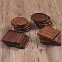 1 Pcs Durable Walnut Wood Coasters Placemats Decor Square Round Heat Resistant Drink Mat Home Table Tea Coffee Cup Pad