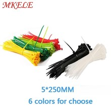 5*250mm nylon cable ties wire tie Self-Locking plastic zip 100PCS/Bag and 6 colors for choose