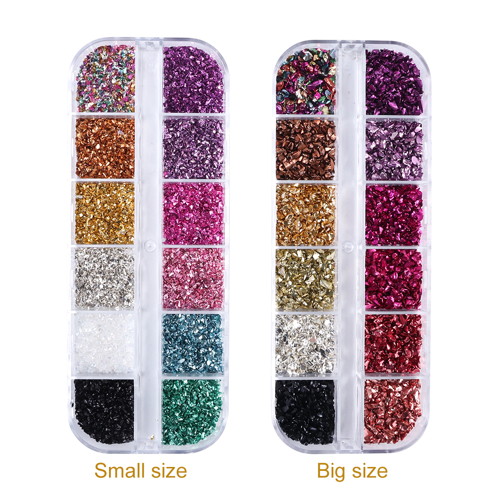 Image 3 - 12 Colors/Set Irregular Metal Rose Gold Nail Sequins Broken Glass Gravel Glitter Stone Accessories Nail Art Decorations CHBLB/S-in Nail Glitter from Beauty & Health