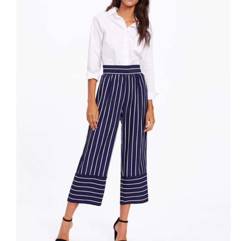 2019 Summer Chiffon striped lady   wide     leg     pants   women Summer beach high waist trousers Office Ladies   Leg   High Waist Trousers