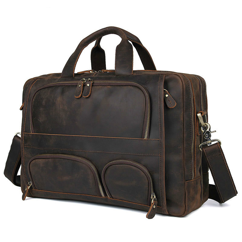 European And American Retro Style Multi-pocket Business Bag Crazy Horse Leather Men's Leather 17