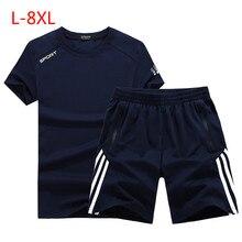 2019 Men Big Size 7XL Wear Slim Fit Men's Tracksuit Men Set T-shirt + Shorts Mens Suits Sudaderas Hombre 2 Piece Jerseys Suits