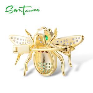 Image 3 - Santuzza broche de prata para mulher autêntico 100% 925 prata esterlina cor do ouro adorável abelha inseto broche moda jóias